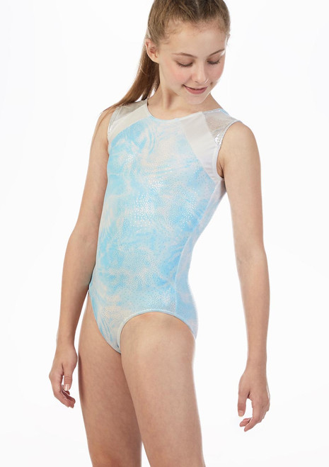 Alegra Ripple Sleeveless Gymnastics Leotard Blue front. [Blue]