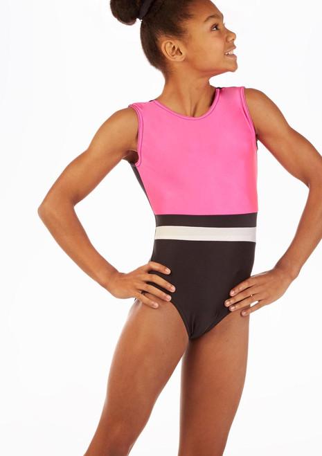 Alegra Britney Sleeveless Gymnastics Leotard Black-Pink front. [Black-Pink]