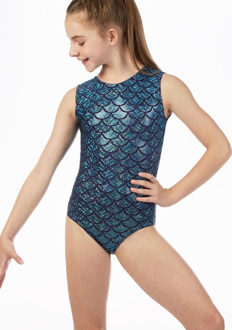 Alegra Hydra Sleeveless Gymnastics Leotard Blue front. [Blue]