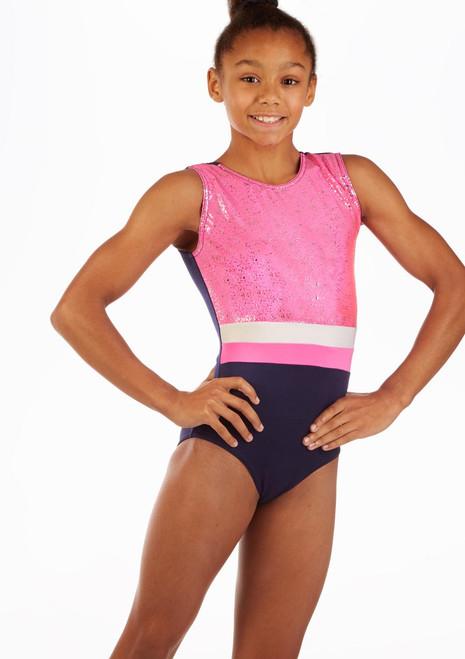 Alegra Hannah Sleeveless Gymnastics Leotard Blue front. [Blue]