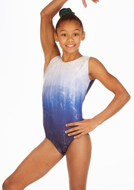 Alegra Blue Storm Gymnastics Leotard front. [Blue]