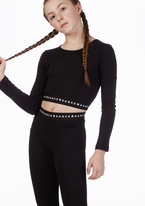 Move Dance Long Sleeved Crop Top Black front. [Black]