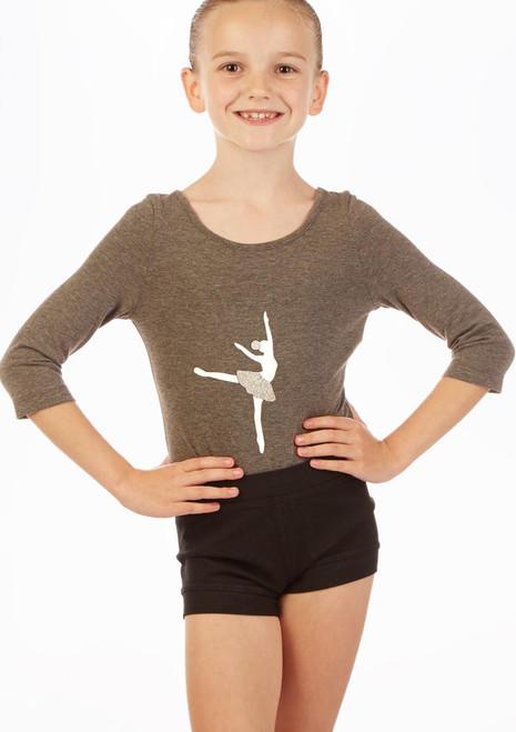 Move Dance Cross Back Ballerina Leotard Grey front. [Grey]