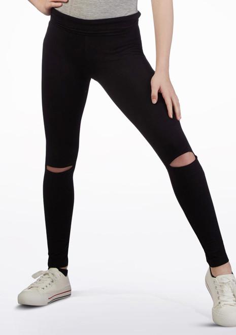 Move Dance Open Knee Leggings Black front. [Black]