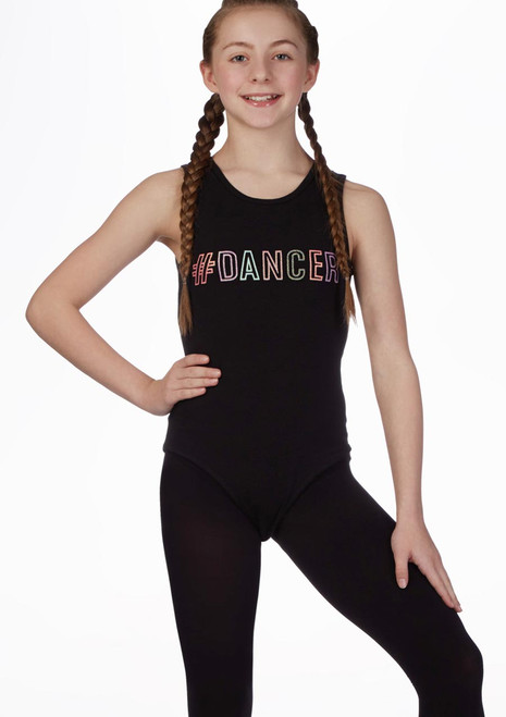 Move Dance Hashtag Leotard Black front. [Black]