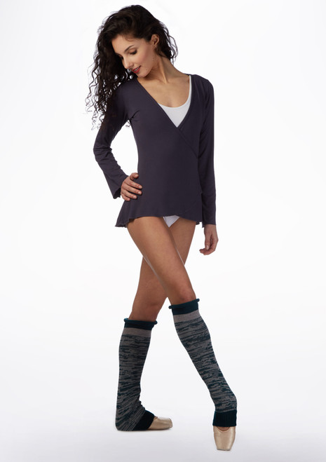 Ballet Rosa Long Sleeve Ballet Wrap Grey front. [Grey]