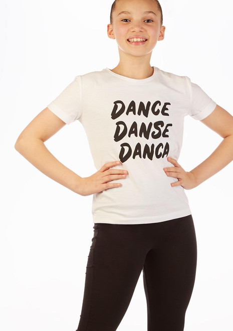 Move Dance 'Danca' Slogan T-Shirt White front. [White]