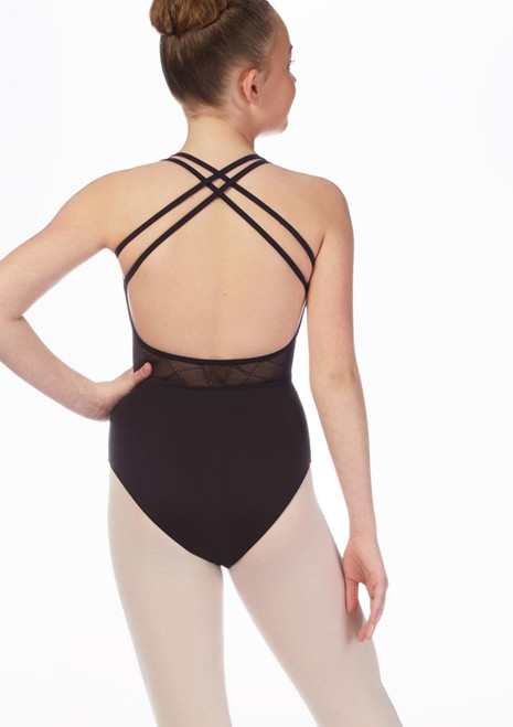 Mirella Teen Cross Back Mosaic Leotard* Black front. [Black]