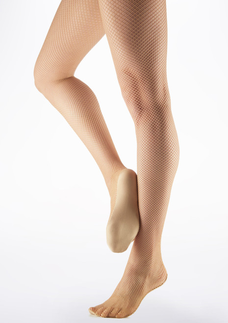 Move Professional Fishnet Dance Tights Light Tan Brown main image. [Brown]