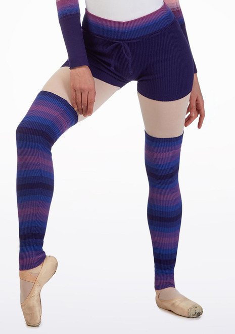 Grishko Knitted Warm Up Shorts Blue front. [Blue]