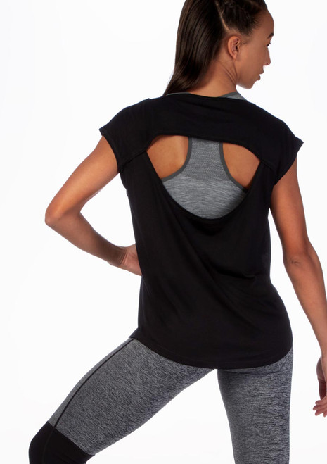 Move Open Back Dance T-Shirt Black front. [Black]