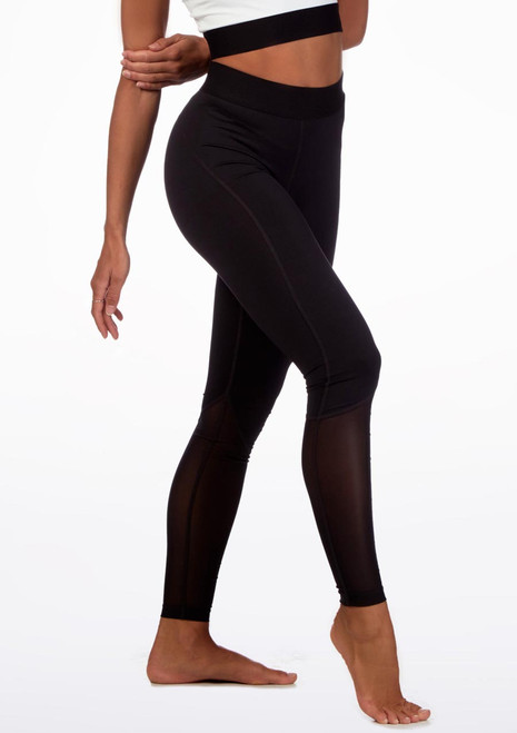 Move Ankle Mesh Dance Legging Black front. [Black]