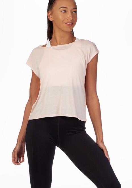 Move Mesh Back Dance T-Shirt Pink front. [Pink]