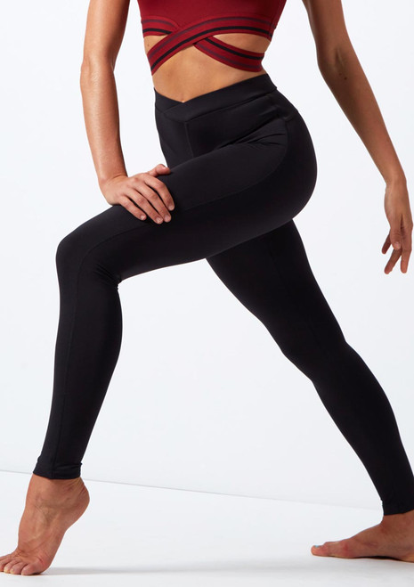 Move Dance Dream Footless Dance Leggings Black front. [Black]