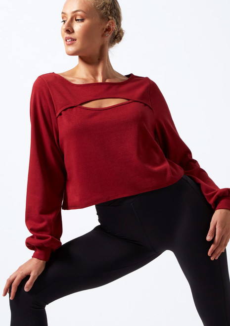 Move Dance Dare Cut Out Sweatshirt Red front. [Red]