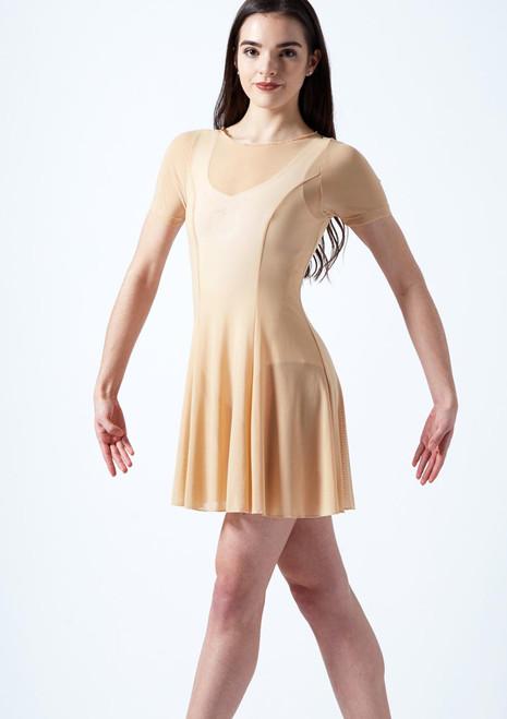Move Dance Ceres Short Sleeve Lyrical Dress Tan front. [Tan]