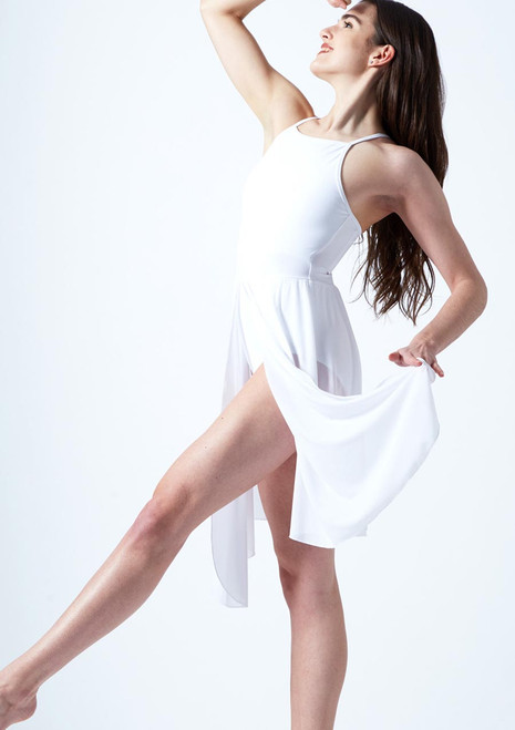 Move Dance Ariel Cross Back Lyrical Dress Tan front. [Tan]