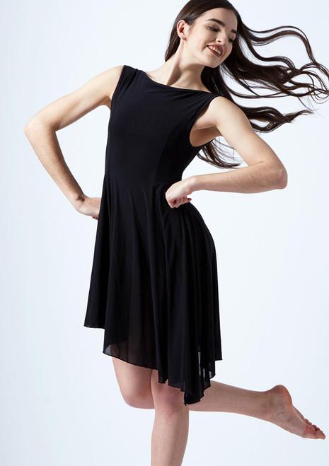 Move Dance Pandora Asymmetric Lyrical Dress Black front. [Black]