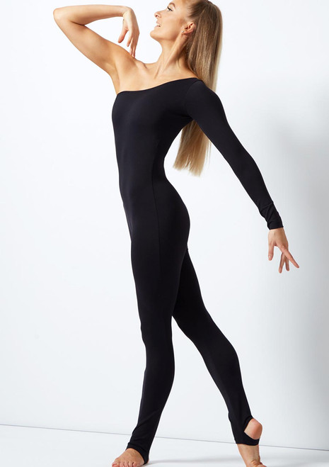 Move Dance Ali One Shoulder Long Sleeve Catsuit Black front. [Black]