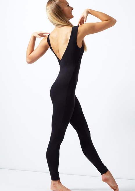 Move Dance Mollie Low Scoop Back Unitard Black front. [Black]