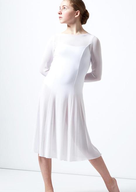 Move Dance Teen Dia Long Sleeve Lyrical Dress White front. [White]