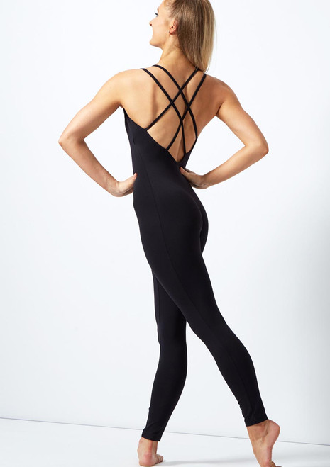 Move Dance Lucie Double Cross Back Catsuit Black back. [Black]