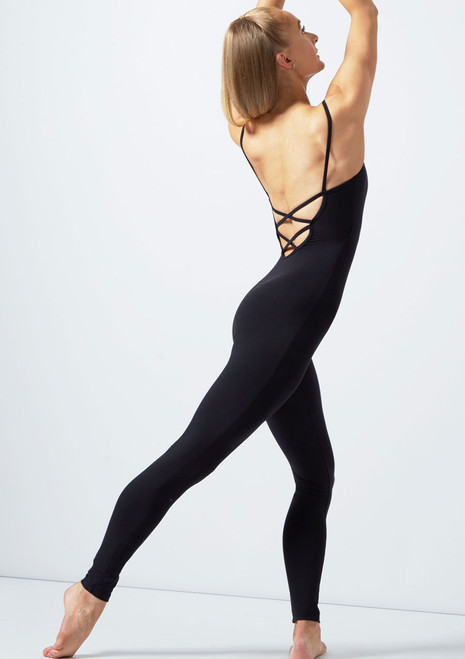 Move Dance Kylie Cross Strap Scoop Back Catsuit Black back. [Black]