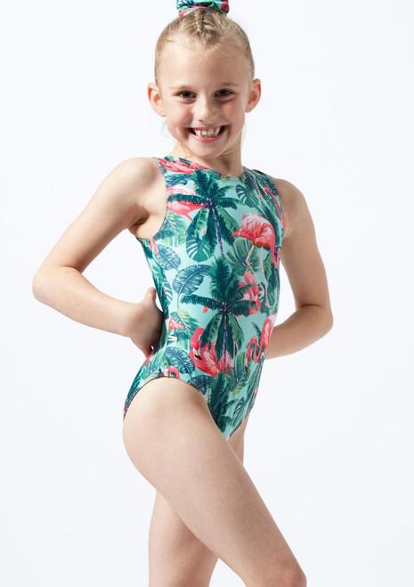 Alegra Girls Flamingo Sleeveless Gymnastics Leotard Green front. [Green]