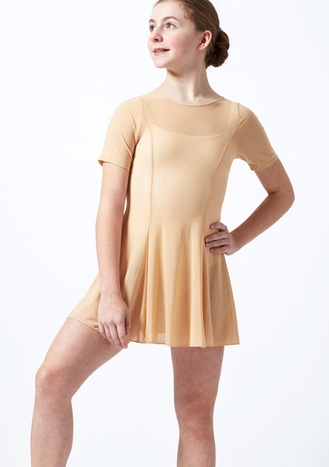 Move Dance Teen Kari Short Sleeve Lyrical Dress Tan front. [Tan]