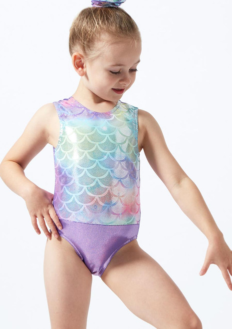Alegra Girls Mermaid Sleeveless Gymnastics Leotard Purple front. [Purple]