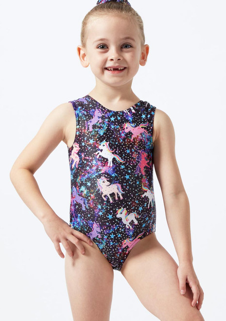 Alegra Girls Unicorn Sleeveless Gymnastics Leotard Black front. [Black]