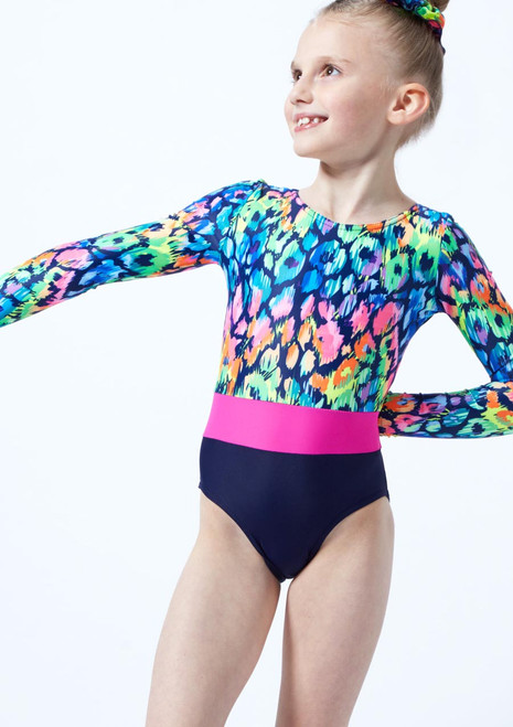 Alegra Girls Rainbow Long Sleeve Gymnastics Leotard Blue front. [Blue]