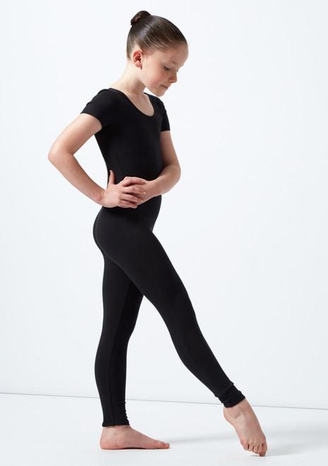 Alegra Jasmin Girls Short Sleeve Catsuit Black front. [Black]