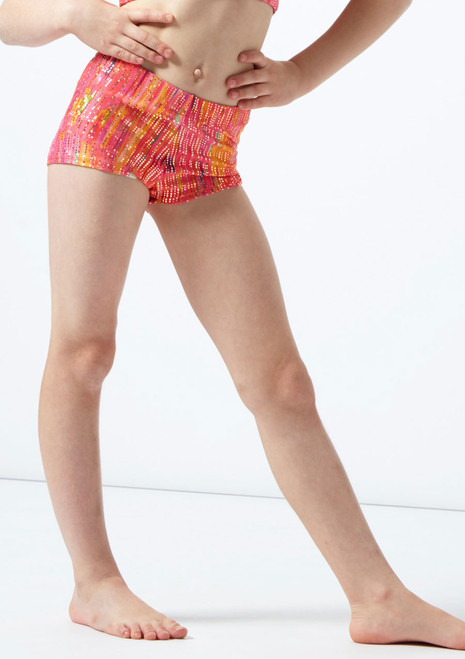 Alegra Girls Sunset Gymnastics Shorts Orange front. [Orange]