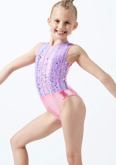 Alegra Girls Metallic Print Sleeveless Gymnastics Leotard Pink front. [Pink]