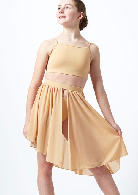 Move Dance Teen Erin Asymmetric Lyrical Half Skirt Tan front. [Tan]