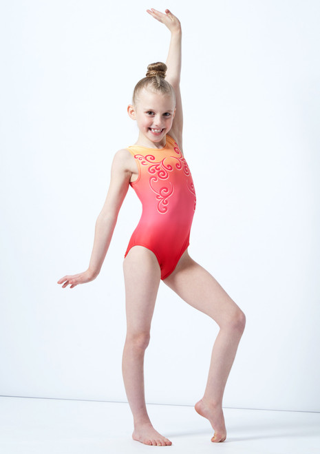 Alegra Girls Red Printed Ombre Sleeveless Gymnastics Leotard Pink front. [Pink]