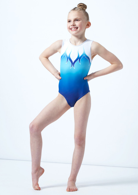Alegra Girls Blue Printed Ombre Sleeveless Gymnastics Leotard front. [Blue]
