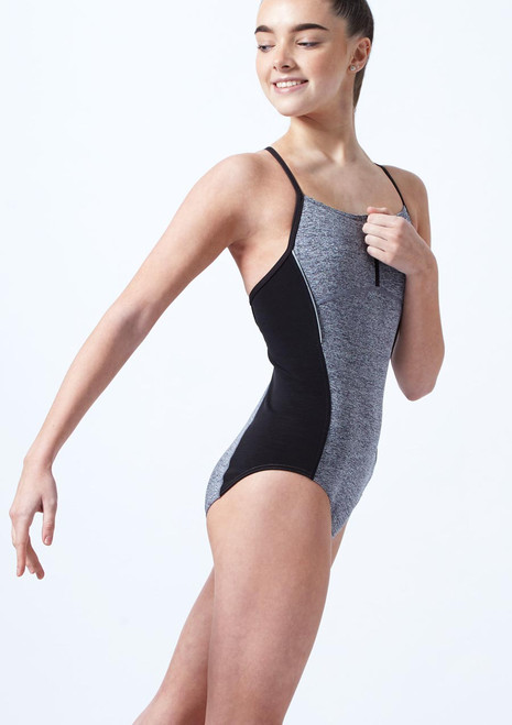 Capezio Teen Zip Front Leotard Grey front. [Grey]