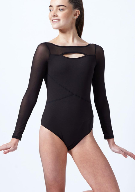Capezio Teen Front Keyhole Long Sleeve Leotard Black front. [Black]