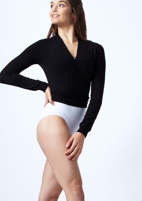 Move Dance Mila Ballet Wrap Black front. [Black]