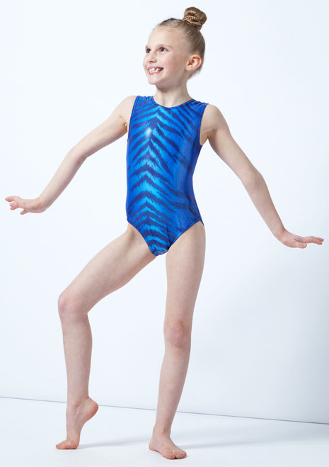Alegra Girls Bengal Sleeveless Gymnastics Leotard Blue front. [Blue]
