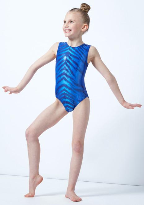 Alegra Girls Bengal Sleeveless Gymnastics Leotard Blue front. [Blue]
