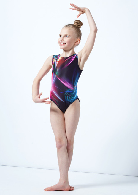 Alegra Girls Lightshow Printed Sleeveless Gymnastics Leotard Grey front. [Grey]