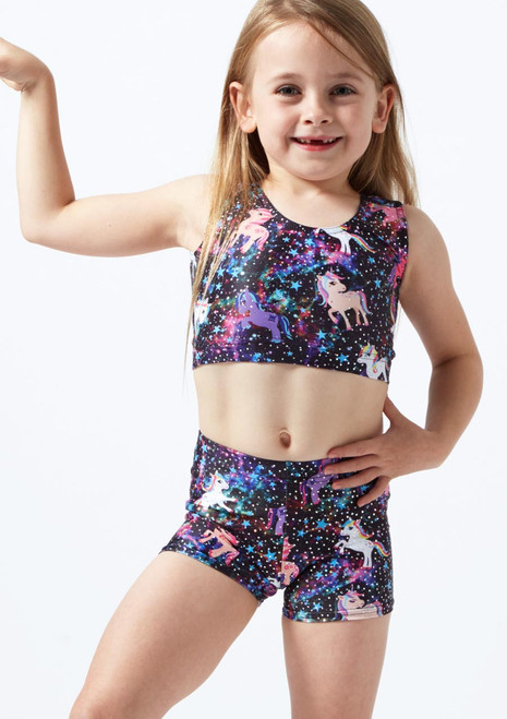 Alegra Girls Unicorn Gymnastics Crop Top Black front. [Black]
