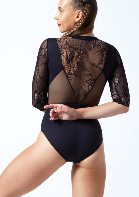 Intermezzo 3/4 Sleeve Zip Lace Leotard Black Back-1T [Black]