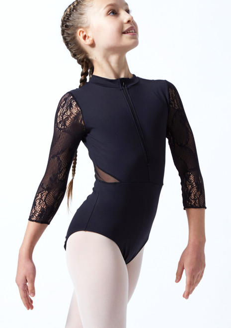 Intermezzo Teen 3/4 Sleeve Zip Lace Leotard Black Front-1T [Black]