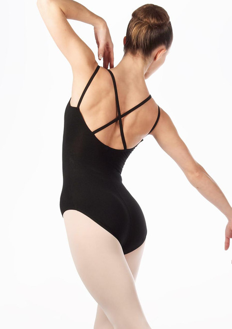 English National Ballet Cross Strapped Camisole Leotard Black. [Black]