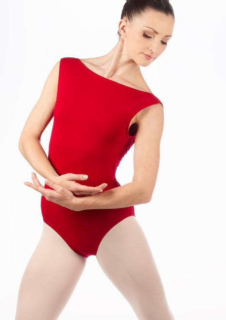 English National Ballet Boat Neck Leotard Red. [Red]