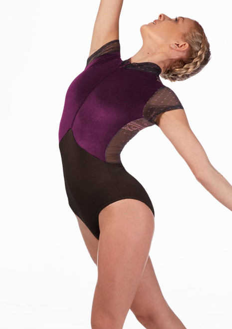 Ballet Rosa Velour Leotard Black Purple front. [Purple]